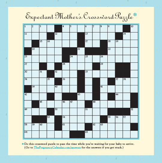 Expectant Mother\'s Crossword Puzzle from The Pregnancy Calendar